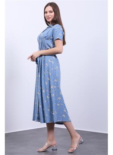 Deri Effect Kadın Gömlek Elbise Mavi Uzun Pensli Mavi